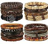BE STEEL 17 Stück Leder Armbänder für Herren Damen Geflochtene Armband Männer Armreif Seil Punk Verstellbar