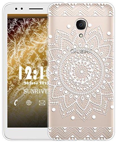 Sunrive Für Alcatel 1X Hülle Silikon, Transparent Handyhülle Schutzhülle Etui Case für Alcatel 1X 5059D(TPU Blume Weiße)+Gratis Universal Eingabestift