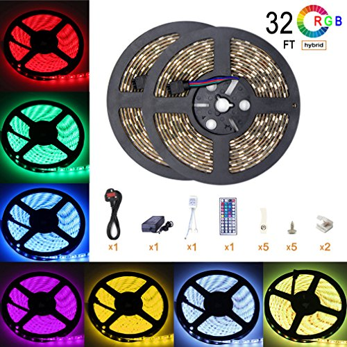 Led Strip Light Waterproof 32.8ft 10m Waterproof Flexible Color Changing RGB SMD5050 300leds LED Strip Light Full Kit with 44 Keys IR Remote Controller and 6A Power Supply For Kitchen Mirror Home Decoration Lighting Test