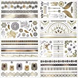 MelodySusie Temporäre Klebe-Tattoos Körper Tattoos mit 100+ Motiven, Metallic Flash tattoos in Silber & Gold, 8 Blätter