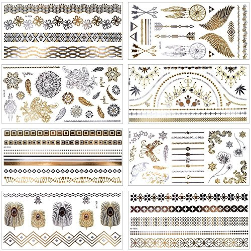MelodySusie Temporäre Klebe-Tattoos Körper Tattoos mit 100+ Motiven, Metallic Flash tattoos in Silber & Gold, 8 Blätter (Metallic) (Tattoo Kleidung)