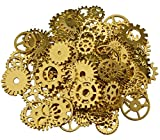 200 Gramm sortierte Vintage Bronze Metall Steampunk Schmuck machen Charms Cog Watch Wheel (golden)