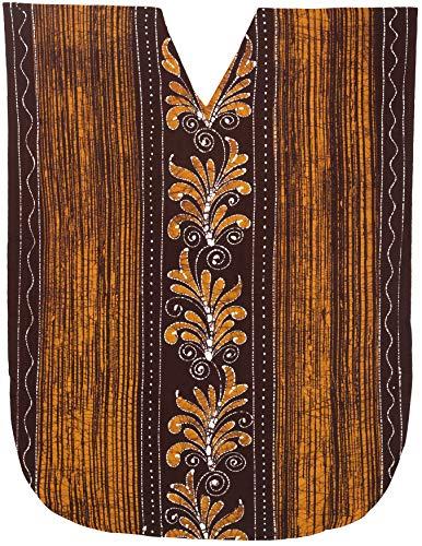 n Baumwolle Kaftan Tunika Batik Kimono freie Größe Lange Maxi Party Kleid für Loungewear Urlaub Nachtwäsche Strand jeden Tag Kleider Braun_U964 ()