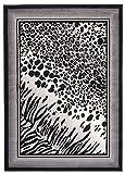 Tapiso Alfombra De Salón Moderno Cuarto Colección Dream – Color Gris Crema Diseño Cuadro Imitación Piel Animal Manchas Gacela – Precio Top – Fácil De Limpiar 160 x 210 cm