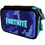 Astuccio 3 Zip Fortnite Camouflage Blu Completo di Colori e Accessori 62826