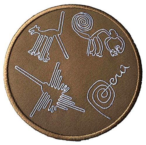 Nazca Lines Peru Aufnäher zum Aufbügeln oder Aufnähen, 10 cm, Souvenir für Reisen Urlaub Nationalpark Adventure Explorer Wonders of the World Serie Emblem Badge Applikation -