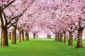 Albero di ciliegio FOTOMURALE - bosco con alberi di cili egio - primavera rosa carta da parati quadro - alberi bosco decorazione da parete by GREAT ART (210 x 140 cm)