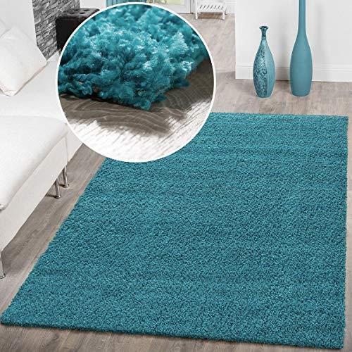 T&T Design Alfombra Shaggy Pelo Largo Moderna Lisa Monocolor Turquesa Precio Inmejorable, Größe:300x400...