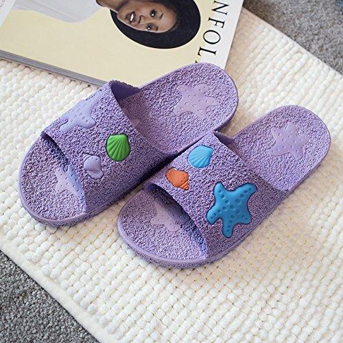 DogHaccd pantofole,Il bagno ha una parte antiscivolo ciabatte da bagno soft home fondo interno di pavimenti in legno e plastica a casa un paio di pantofole fresca estate La porpora3