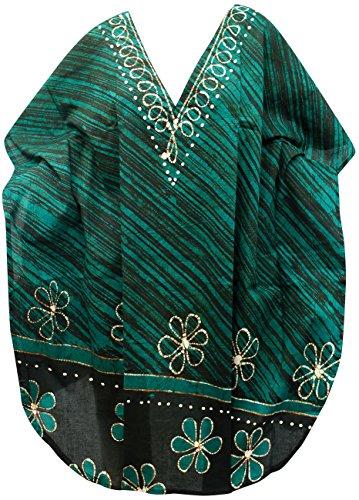 La Leela 100% coton batik léger tourbillon 5 en 1 caribbean maillot bain maillot bain bikini beach party couvrir nightwear robe casual tunique femmes haut chemise nuit courte caftan, plus kimono Vert