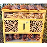 Natural Insect Hotel, with wood bark Roof, Lemon/Neon Yellow/Light OS Nesting Box, Bird House as Addition For Tit Box or for Birdhouse Bird Feeding Station Bird Feeder Insect House-Insect Hotel Insect Hotel for Organic Natural Aphid Butterfly, Ladybird Ladybug Ladybird Box House House Butterfly Garden Decoration
