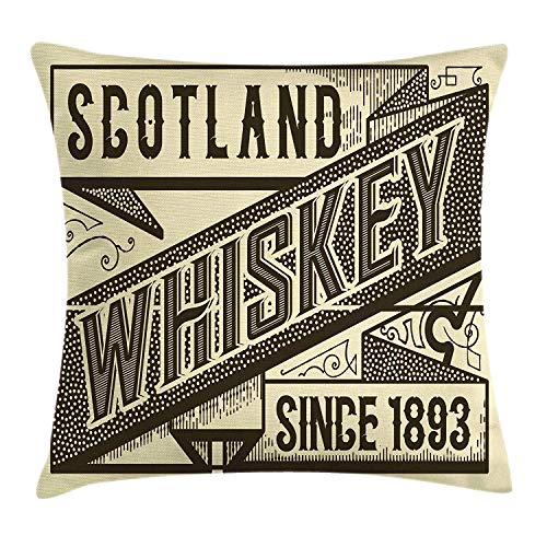 K0k2t0 Man Cave Decor Throw Pillow Cushion Cover by, Whiskey Label Design Old Fashion Scotland Alcohol Drink Taste Quality, Decorative Square Accent Pillow Case, 18 X 18 Inches, Brown Sand Brown -