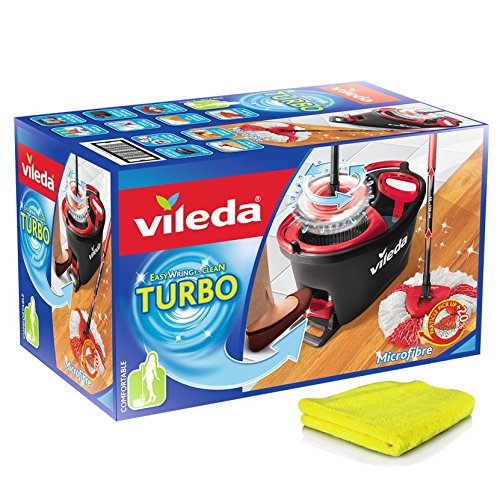 SILUK Vileda Turbo EasyWring & Clean Komplett Set, Wischmop und Eimer mit PowerSchleuder, Standard + extra Mikrofaser-Reinigungstücher