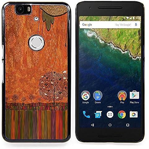 For Huawei Google Nexus 6P Case , Pastello a olio Albero arte disegno - Design Pattern Duro Staccabile Stile Telefono Cellulare Nuovo Caso Cover Guscio Duro