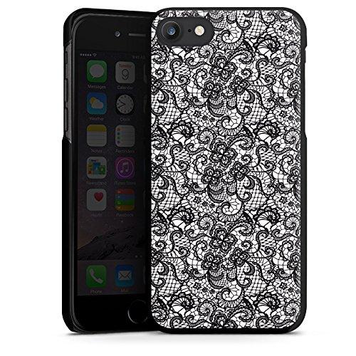 Apple iPhone X Silikon Hülle Case Schutzhülle Blumen Schwarz Weiß Muster Hard Case schwarz