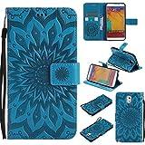Galaxy Note 3 Hülle [mit Frei Panzerglas Displayschutzfolie], BoxTii® Galaxy Note 3 Schutzhülle mit Kartenfächern und Bumper Silikon TPU Cover, Premium Lederhülle Leder tasche Handyhülle mit Standfunktion für Samsung Galaxy Note 3 (#6 Blau)