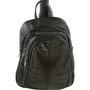 4287a10ecb Ladies Soft Real Leather Backpack Rucksack Bag- Triple Zipped (Black)