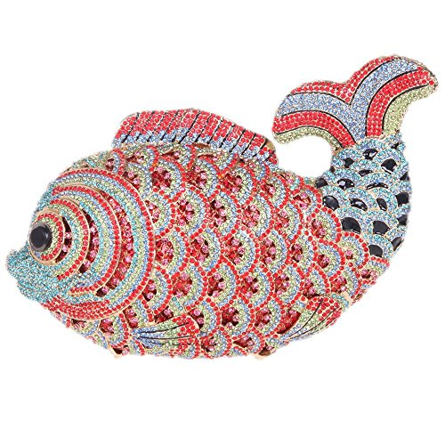 Santimon Clutch Delle Donne Lusso Bling Strass Pesce Borse Da Festa di Nozze Sera Con Tracolla Amovibile e Pacco Regalo 10 Colori rosso