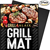"""ALAIX BBQ Grill Mat, 100% anti-aderente, facile da pulire, riutilizzabili, perfetta per la cottura in forno e per il Barbecue, nero, 2 Pack, 15.75""""x13"""""""