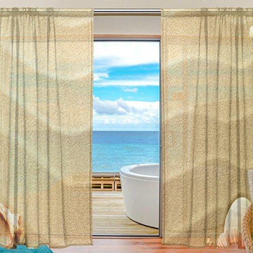 JSTEL 2Stück Strand Muscheln Seestern Drucken Muster Tüll Tür mit Voile-Vorhang, Vorhänge für Schlafzimmer, Wohnzimmer, Vorhang-Panel, 78x - 78-zoll-gardinenstange