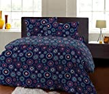 Bombay Dyeing Mistyrose 120 TC Polycotton Double Bedsheet with 2 Pillow Covers-Blue