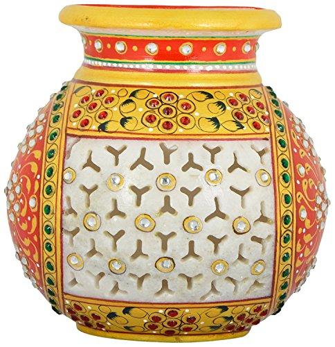 Saudeep India Trading Corporation Marble Flower Pot With Jali Cut (13 cm)