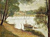 Artland Qualitätsbilder I Wandbilder Selbstklebende Wandfolie 60 x 45 cm Landschaften Gewässer See Malerei Ocker C2VJ Graues Wetter Grand Jatte Um 1888