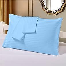 Cloth Fusion Cotton Satin Stripe Pillow Covers Set of 2