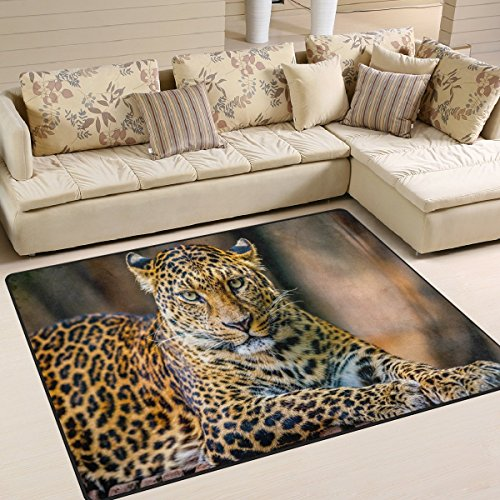 Domoko Hipster Leopard Animal Print Bereich Teppich Teppiche Matte für Wohnzimmer Schlafzimmer, Textil, Mehrfarbig, 160cm x 122cm(5.3 x 4 feet) -