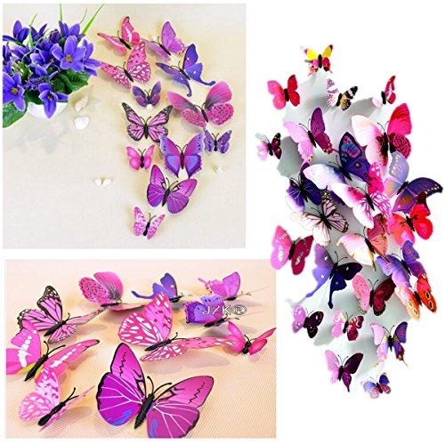 JZK® 12 PZ 3D farfalle decorazioni ornamenti adesivi da parete parati farfalla con magnete (porpora) - Piccolo Farfalla Della Decorazione Della Parete