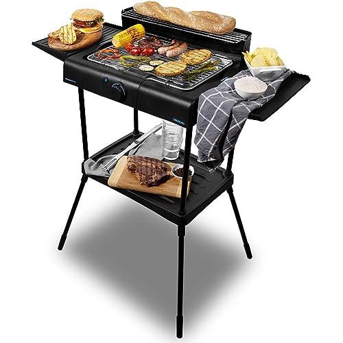 Cecotec PerfectSteak 4250 Stand Barbecue Elettrico 2400W Griglia in Acciaio Inox Supporti con Grande Superficie 3 Livelli di Altezza e Pannello Antivento, Vassoio Rimovibile