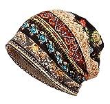 Femme Bonnets Hut Bandeaux Turban Bandanas Multi-usages (#1 marron, 1)