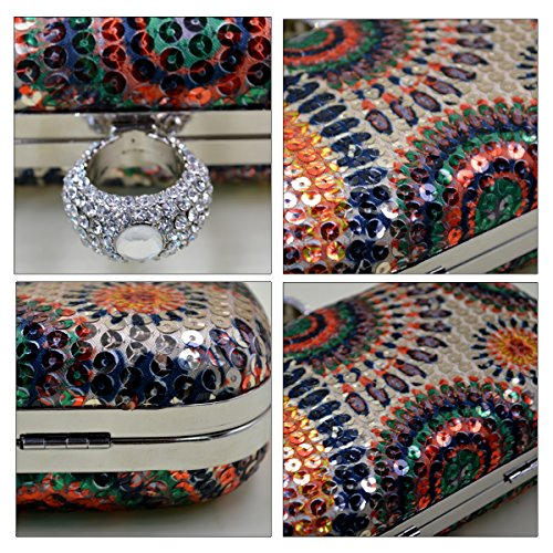 Aisi Anello da donna strass Studded Sequin Evening Clutch Mini Borsa Partito di Sera, Multicolour (multicolore) - hyh-06 Multicolour