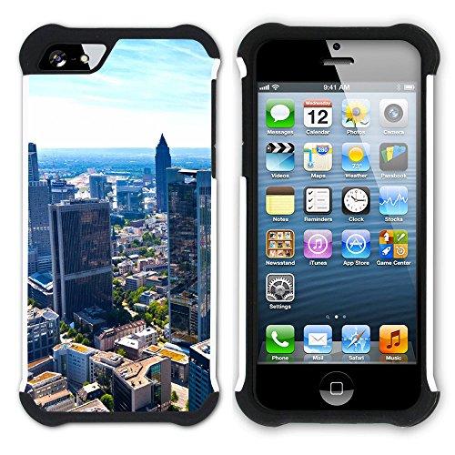 Graphic4You Frankfurt Deutschland Postkarte Aussicht Hart + Weiche Kratzfeste Hülle Case Schale Tasche Schutzhülle für Apple iPhone SE / 5 / 5S Design #8