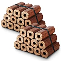 Premium Eco Wooden Heat Logs Pack. Fuel for Firewood,Open Fires, Stoves, Fire Pits and Log Burners - Comes with THE LOG HUT® Woven Sack