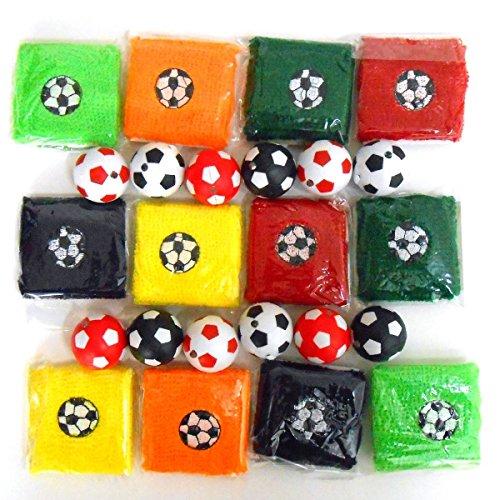 Schnäppchenladen24 12x Fußball Schlüsselanhänger mit LED-Lampe + 12x Schweißband Fußball