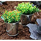 Mini Metal Pail, Indexp 1 Pack Iron Bucket Candy Keg DIY Wedding Party Favour Home Garden Office Decor Crafts