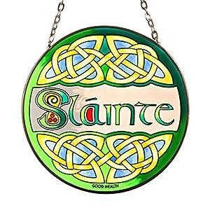 Eburya Slainte – Handbemaltes irisches Fensterbild aus Buntem Echtglas