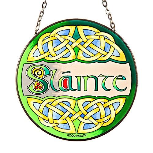 Eburya Slainte - Handbemaltes irisches Fensterbild aus Buntem Echtglas