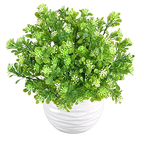 MIHOUNION 4 Bundles Artificial Plastic Plants Aglaia Odorata Lour Evergreen Shrubs Outdoor UV Stable Subtropical Green Bushes Home Garden Tabletop Floral Arranging