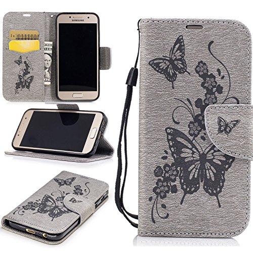 Cozy Hut Premium Handy Schutzhülle Tasche Leder Wallet Tasche Flip Brieftasche Etui Schale Mit Kartenfach Magnetverschluss Standfunktion für Samsung Galaxy A3 2017 - grau Schmetterling