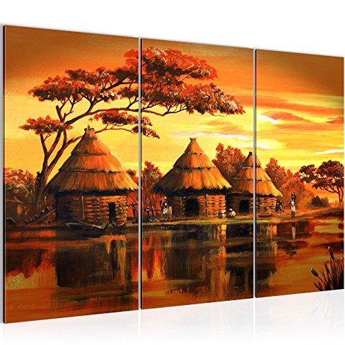 Photo Afrique Massaï Décoration Murale 120 x 80 cm Toison - Toile Taille XXL Salon Appartement Décoration Photos d'art Orange 3 Parties - 100% MADE IN GERMANY - prêt à accrocher 000031a