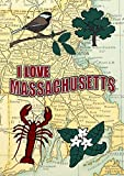 Toland Home Garden I Love Massachusetts Dekorative Garten Flagge 12,5 von 45,7 cm New England Boston Karte, garden-small-12.5 X 45,7 cm