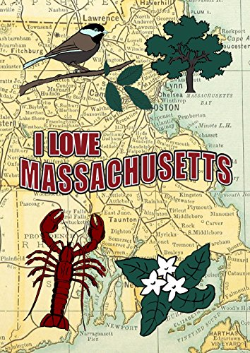 Toland Home Garden I Love Massachusetts Dekorative Garten Flagge 12,5von 45,7cm New England Boston Karte, garden-small-12.5X 45,7cm