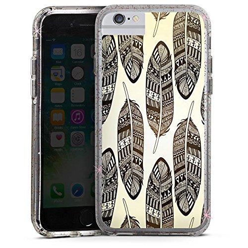 Apple iPhone 6 Bumper Hülle Bumper Case Glitzer Hülle Federn Tribal Indianer Bumper Case Glitzer rose gold