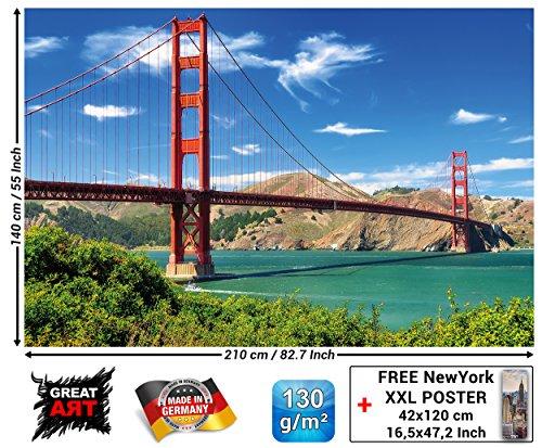 GREAT ART Fototapete - Golden Gate Bridge - Wandbild Dekoration Hängebrücke San Francisco Kalifornien Wanddeko USA Sehenswürdigkeiten Foto-Tapete Wandtapete Fotoposter Wanddeko (210 x 140 cm) -
