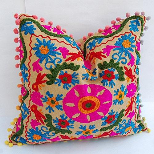 HANDICRAFTOFPINKCITY 2PC Dekorative Kissenbezug Hand Gesticktes Usbekistan Style Suzani Kissenhülle Wohnzimmer. -