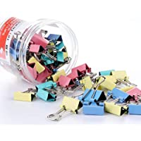 60 Pcs Colours Metal Paper Binder Clips Clamps,Bulldog Clips Clamps Metal Mini Swallowtail Clip Paper Clips File Paper…