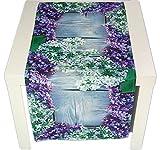 pflegeleichte Tischdecke 40x90 cm eckig Flieder Frühling Sommer Läufer Fotodruck Polyester Tischläufer Sommerdecke Gartendecke Gartentischdecke Vintage (Tischläufer 40x90 cm)
