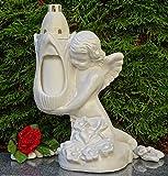 ♥ Grablicht Engel SKULPTUR MASSIV MIT GRABKERZE 34,0cm GRABSCHMUCK GRABLEUCHTE Figur Engel Laterne GRABLATERNE